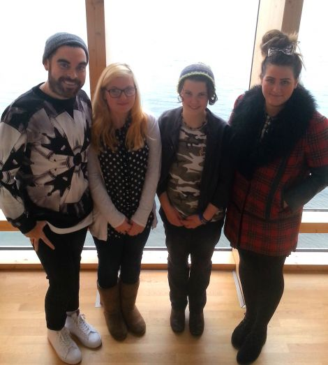 Britain's northernmost hopefuls were Abby Williams (second from left) and Sula Brookes from Unst, at Mareel with Britain's Got Talent casting team Jake Court (left) and Sophie Brown (right)