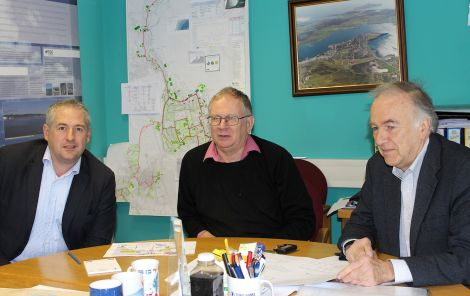 Discussing ways to expand the Lerwick district heating scheme are (from left): Star Renewable Energy director David Pearson, SHEAP manager Neville Martin and SHEAP board member Andrew Blackadder - Photo: Hans J Marter/ShetNews
