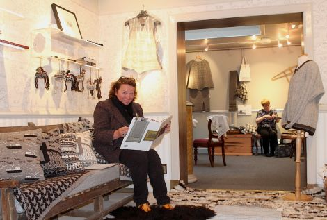 Vaila Fine Art owner Dorota Rychlik has has decked out her gallery in the softest shades of natural wool.