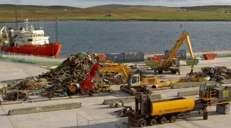 60 North Recycling at work on the Lerwick waterfront where it is involved in oil rig decommissioning. Photo 60 North