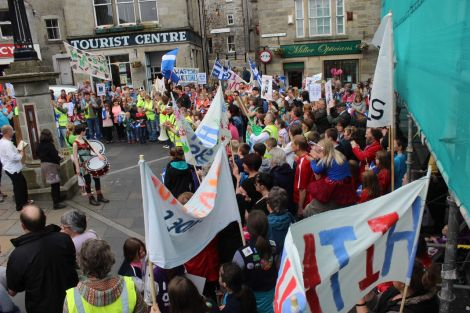 June's street protest in Lerwick showed the strength of feeling across the isles against school closures.