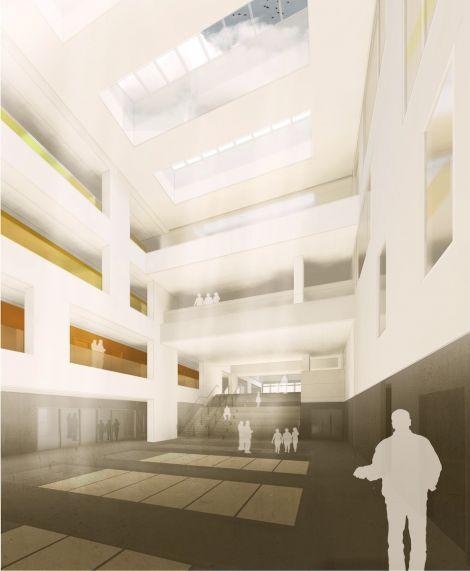 The dining hall atrium.