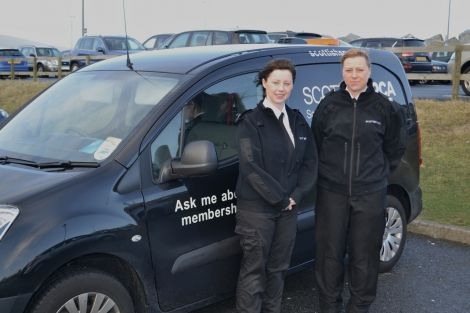 The SSPCA lasses Louise Sales (right) and Terresa Leask ready to look after animal welfare in the isles. Photo BBC Radio Shetland