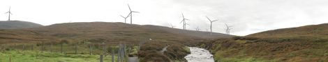 A view of the proposed Viking wind farm from the Burn of Lunklet.