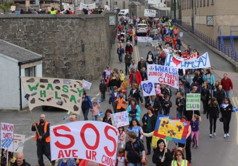 Hundreds of protesters marched against the proposed closures last summer. Photo: Shetnews