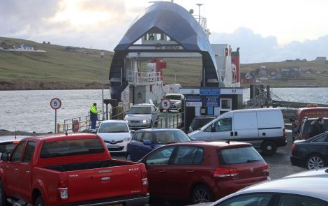 The Whalsay ferry Hendra at the Vidlin terminal - Photo: ShetNews