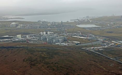 An aerial view of the Shetland Gas Plant construction site from April 2014 - Photo: Total