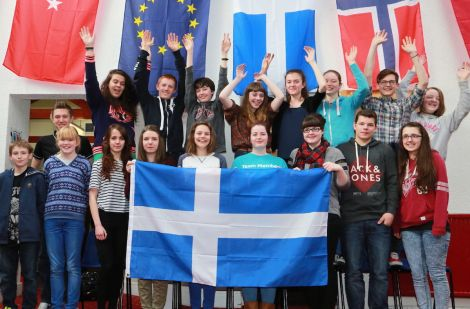 Pupils from Brae High School welcoming their European visitors - Photo: Gordon Stove