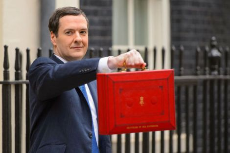 Chancellor George Osborne with the famous red budget box.