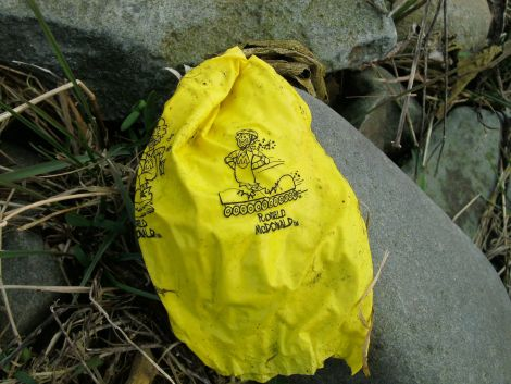 """One of the McDonald's """"happy meal"""" balloons that has washed ashore on Shetland's beaches. Photo courtesy of Jane Outram."""