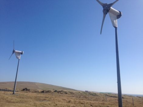 The two wind turbines that will produce the hydrogen, nitrogen and oxygen. Photo Unst Partnership