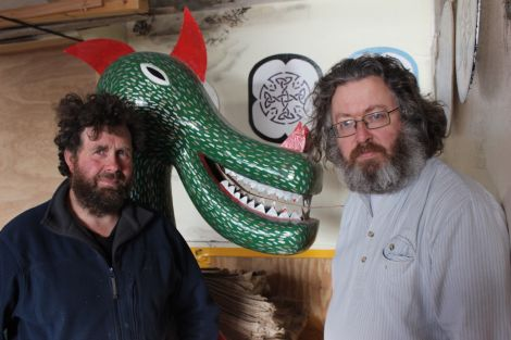 Unhappy Vikings: This year's Northmavine Guider Jarl Magnus Nicolson (left) with next year's Jarl James Titcomb in the galley shed they have occupied for the past 20 years. Photo Shetnews