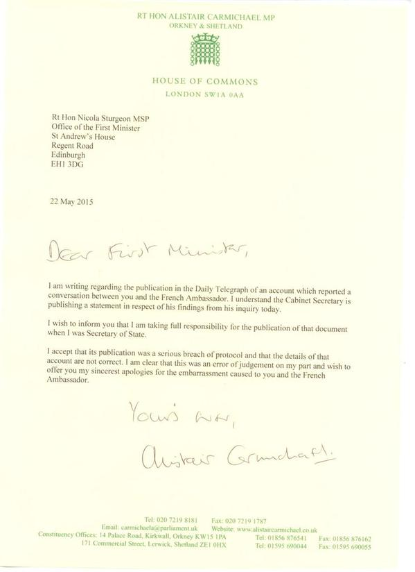 Alistair Carmichael's letter of apology to Nicola Sturgeon tweeted by the first minister on Friday afternoon.