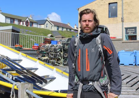 Long distance walker Arjen Ulrich In Hamnavoe this week - Photo: ShetNews