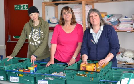 Rhiannon Jehu and Gill Gower are among several volunteers helping meet growing demand at the Salvation Army's Lerwick food bank. Photo: Shetnews/Neil Riddell