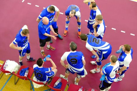 Shetland's volleyball men taking a breather during their encounter with Guernsey. Photo courtesy of Shetland Island Games Association