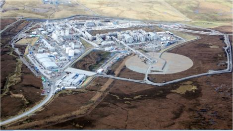 A recent photo of the almost completed Shetland Gas Plant - Photo: Total