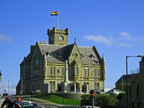 The rainbow flag flying above Lerwick town hall on 28 February last year to mark LGBT history month - Photo: John Anderson