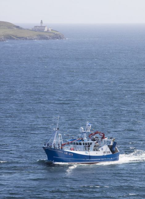 An aerial view of the Guardian Angell sailing into Lerwick harbour - Photo: Paul Riddell