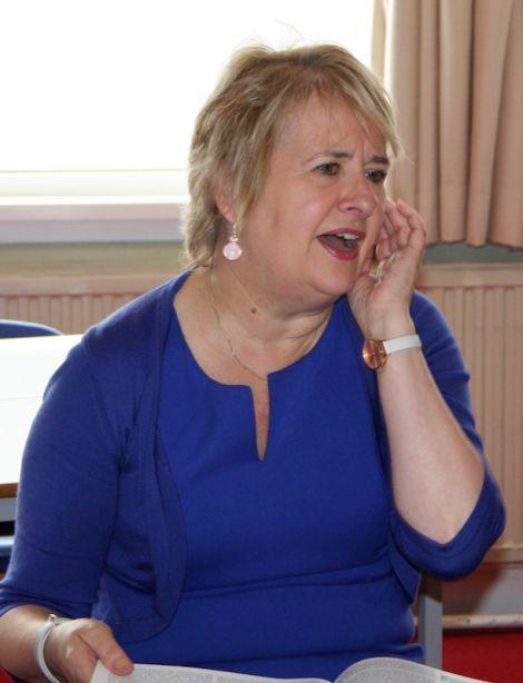 Having a laugh - Roseanna Cunningham at Brae school on Wednesday.