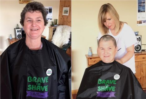 Before...and after: hairdresser Lorraine Sutherland tidies up Sue Skinner's new look that raised hundreds of pounds for the cancer charity MacMillan.