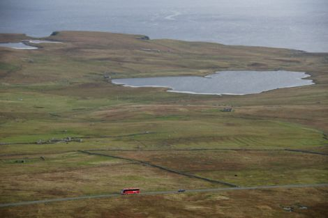 A photo of Loch of Clumlie taken from Scousburgh Hill by Mike Pennington.