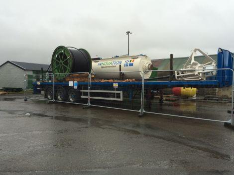 The new Nova 100 on Cullivoe pier still waiting to be installed.