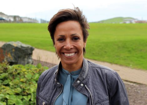 Dame Kelly Holmes visits Shetland for the first time to speak at the inaugural sports conference in Lerwick. Photo: ShetNews/Chris Cope
