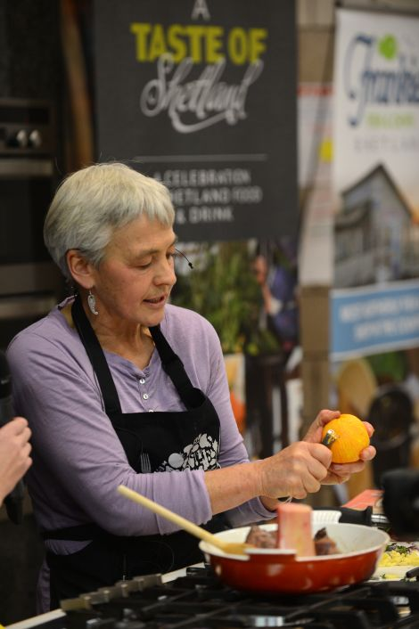 Food author and cook Marian Ermitage from Scatness at last year's Shetland Food Fair. Photo Dave Donaldson