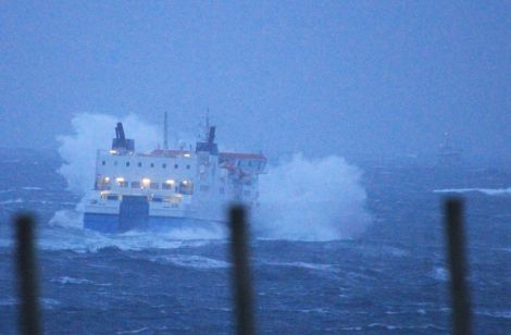MV Hrossey leaving Lerwick in stormy weather last year.