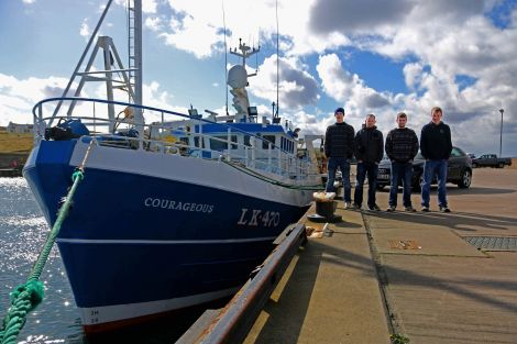 The fresh-faced Courageous, formerly Guardian Angell, and her young crew who joined the Shetland whitefish fleet this year. Photo Ivan Reid