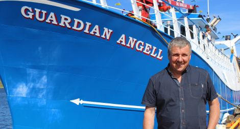 Guardian Angell skipper Michael Henderson with his brand new boat last summer.