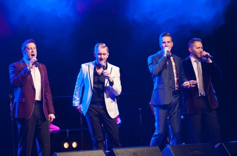 The sounds of Christ and Christmas at the Clickimin, courtesy of Ernie Haase (far left) and his Signature Sound sidekicks (from left) Devin McGlamery, Dustin Doyle and Paul Harkey. Photo Malcolm Younger/Millgaet Media