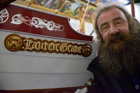 Lerwick Guizer Jarl Mark Evans with his galley Lauren Grace - Photo: Chris Brown