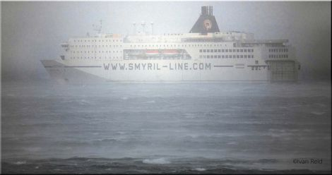 The Faroese ferry Norrona sheltering from the storm off Lunna on Friday. Photo Ivan Reid
