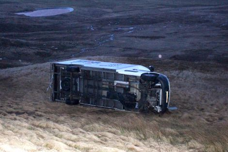 Two people escaped uninjured when their van was blown over near Gulberwick on the A970 on Friday morning - Photo: Chris Cope/ShetNews