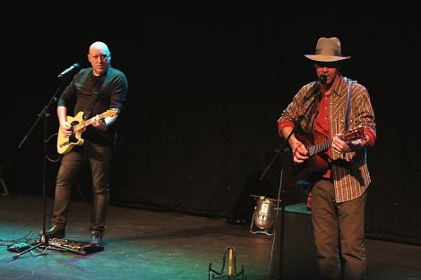 Rich Hall, right, joined by guitarist Rob Childs at Mareel on Tuesday night. Photo: Davie Gardner