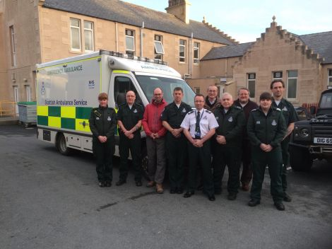 The Lerwick ambulance crew with general manager Milne Weir outside the Lerwick station. From left: Laura Thomson, Angus Galbraith, Martin McDermott, Andy Fuller, Milne Weir, Robert Appleby, Malcolm Macleod, Peter Smith, Elizabeth Reid, Simon Parker