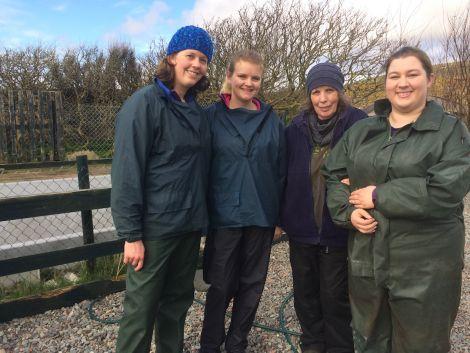 The Shetland Vets team at Hillswick Wildlife Sanctuary - (from left) vet Rebecca Manson,vet student Charis Stevenson, HWS owner Jan Bevington and vet nurse Siân Bryant. Photo HWS