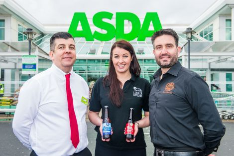 Asda's buying manager Brian O'Shea pictured with Lerwick Brewery chief executive Isla Mercer and Chris Miller of the Craft Beer Clan of Scotland, which was involved in securing the Asda deal.