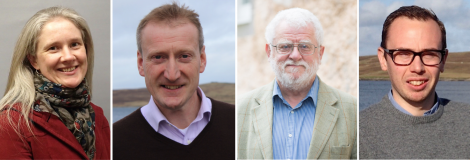 The four candidates for there Shetland constituency seat (from left to right): Robina Barton (Labour), Tavish Scott (LibDems), Danus Skene (SNP) and Cameron Smith (Conservatives).