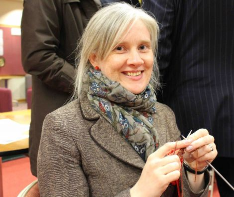 Labour candidate Robina Barton is keeping busy while we wait for the result - by knitting a tea cosy. Photo: Shetnews/Chris Cope