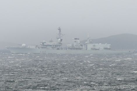 HMS Somerset initially anchored off Gulberwick and Quarff before coming in to Lerwick Harbour at midday on Friday - Photo: Austin Taylor