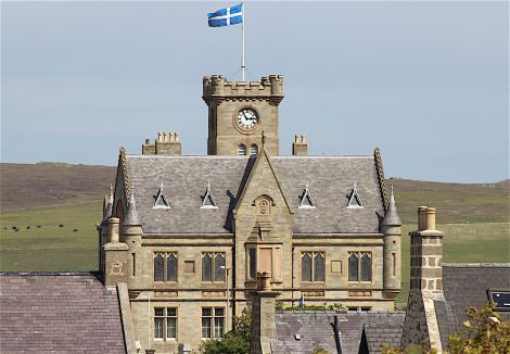 Lerwick Town Hall on Tuesday - Shetland Flag Day. Photo: Shetnews