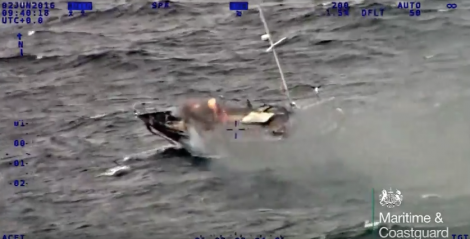 An image taken from the Shetland coastguard video of the yacht as it blazed in the North Atlantic, 50 miles south west of Shetland. Image MCA