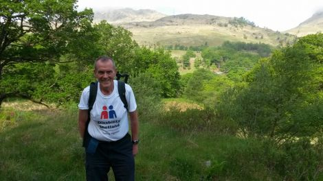 Sandy Peterson earlier this week hiking the West Highland Way along with Kenny Groat to raise funds. Photo courtesy of Disability Shetland