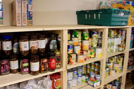 Some of the assorted foodstuffs assembled at the food bank's new premises. Photo: Chris Cope/Shetnews