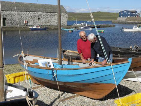 Brian Wishart and Gibbie Fraser at Hay's Dock during the inaugural Shetland Boat Week. Photo courtesy of Shetland Amenity Trust.