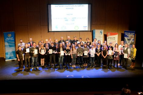 All nominees, sponsors and supporters gathering for the group photo at Mareel on Tuesday night - Photos: Voluntary Action Shetland (VAS)