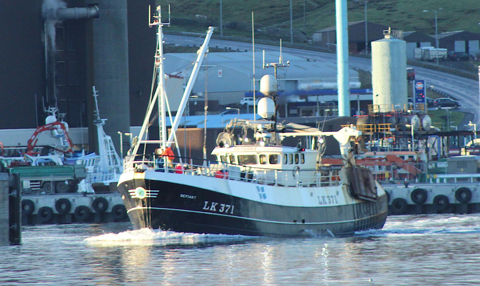 Lerwick-registered whitefish boat the Defiant.